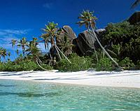Seychelles, island, La Digue, lake,gaze beach, rocks, palms, island state, island_group, coast_landscape, coast, landscape, sandy beach, palm_beach, g...