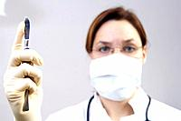 Doctor, scalpel, gesture, portrait, blur, series, people, woman, doctor´s white coat, face mask, surgeon, surgery, knives, work, occupation, healthcar...