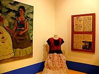 Mexico, Mexico_city, Coyoacan, Casa Azul, Museo_Frida_Kahlo, exhibits, museum_buildings, showroom, art, culture, exhibition, exhibits, clothing, paint...