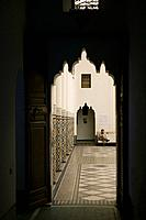 Morocco, Marrakech, madrassa, Ali Ben Youssef, Medersa, detail, man, Africa, North_Africa, destination, city, Old Town, sight, buildings, construction...