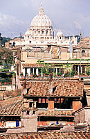 Rooftops, St. Peter´s dome. Rome. Italy