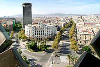 Aerial view to the corner of Les Rambles with Avinguda de les Drassanes. Barcelona. Catalonia. Spain