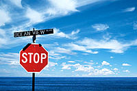 Stop sign at ocean view boulevard in Monterey, California. USA
