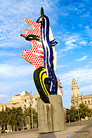 'Head' by Roy Lichtenstein (1992). Port Vell. Barcelona. Catalonia. Spain