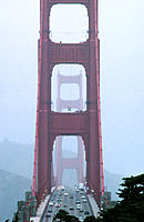 Golden Gate Bridge, misty weather. San Francisco. USA