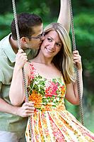 Kiss on a swing
