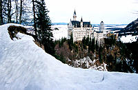 Neuschwanstein Castle seen from Theresenbrücke in winter. Bavaria. Germany