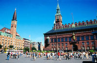 Raadhuspladsen ('Town Hall Square') with the city hall and the Palace Hotel. Copenhagen. Denmark