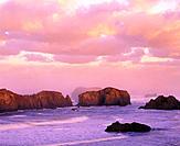 Offshore Islands National Wildlife Refuge at sunrise, Bandon, Southern Oregon coast, USA