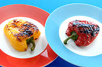 Grilled yellow and red peppers