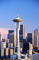 The Needle, city symbol and downtown buildings. Seattle. Washington. USA