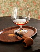 Cognac glass and pipe