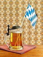 Beer mug with Bavarian flag
