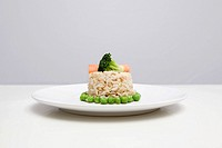 Brown rice and vegetables on a plate