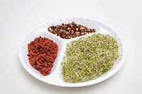 Aduki beans goji berries and alfalfa sprouts