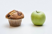 A muffin and an apple