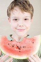 Boy with slice of watermelon (thumbnail)