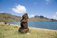 A tiki sculpture on nuku hiva