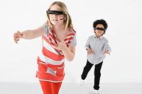 Kids wearing virtual reality headsets