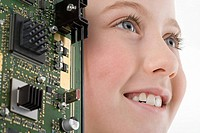 Girl with a circuit board