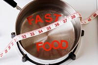 Words spelling fast food in a saucepan (thumbnail)