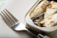 A can of sardines and a fork