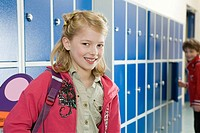 Girl in school corridor