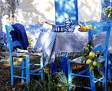 Blue and white table with lemon