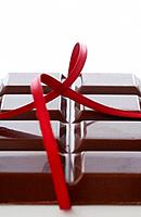 Chocolate bar and ribbon