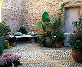 Patio with terracotta vases
