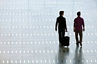 Rear view of two men walking at an airport lobby
