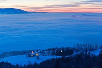 Homestead, Gaisberg, sea of fog, Salzburger Becken, Salzachtal