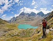 Female hiker, Schobergruppe,the Alps