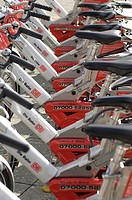 Close_up of bicycles parked in row