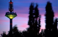 Radio transmission tower lit up at dusk behind silhouette of trees, Germany