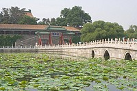 Group of people on bridge across pond, Beihai Park, Beijing, China