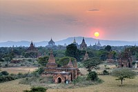 High angle view of pagodas on landscape, Bagan, Myanmar