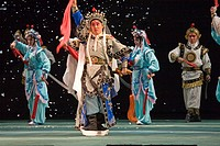 Group of stage performers performing in theater, Beijing, China