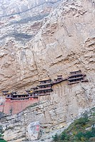 Low angle view of monastery on cliff, Shaanxi Province, China