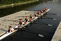 Rowing team sitting in scull