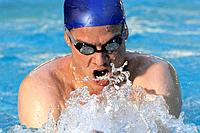 Close up of man swimming