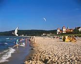 Tourists on beach, Binz Beach, Isle Of Rugen, Mecklenburg, Germany