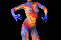 Nude woman wearing multi_colored body paint