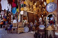 Tourists at market stall, Marrakesh, Morocco