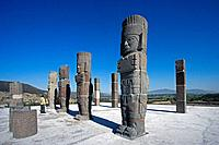 Tula City. Arqueological Area. Quetzalcoatl Temple. The Atlantes Statues. Mexico.
