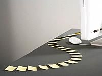 Trail of adhesive notes and computer hard drive