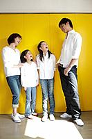 Family standing talking