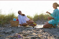 Two young women having a picnic at the beach