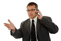 Businessman with mobilephone on white background