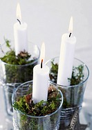 Three burning candles in glasses with moss